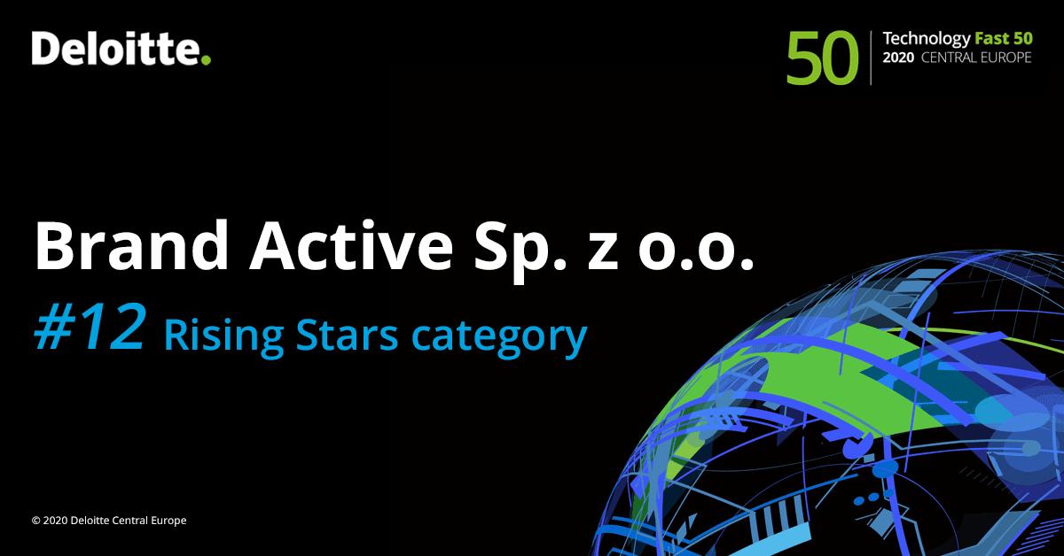 Brand Active na 12 miejscu w kategorii Rising Stars. Deloitte Technology Fast 50 CE 2020
